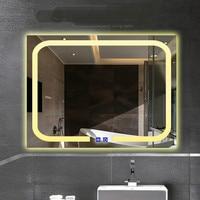 High End Moderno Multi Funções Wapteroof 60*80 cm Espelho Led Espelho de Luz Para Banheiro Do Hotel Interruptor de Toque Brilhante luz 1189