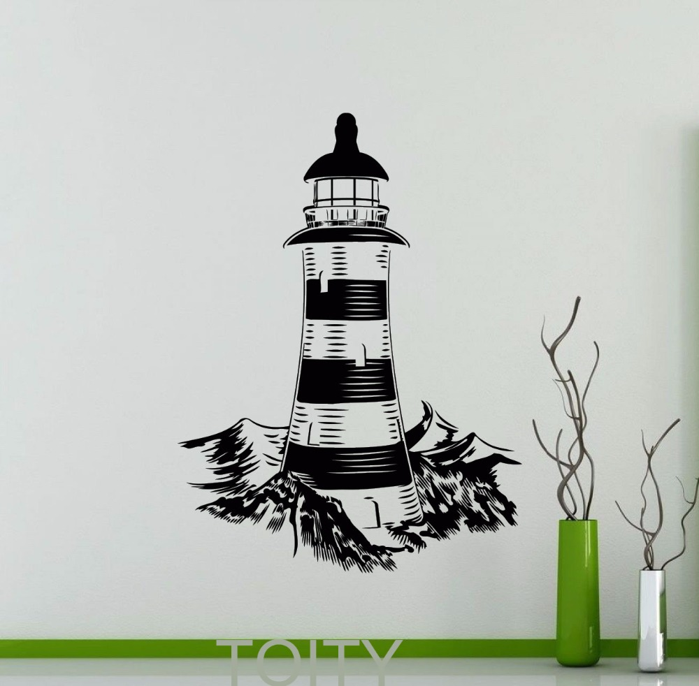 Lighthouse Wall <font><b>Stickers</b></font> Nautical Sea Ocean Beach Vinyl Decal Home Room Interior Decoration Bedroom <font><b>Office</b></font> Black Art Mural