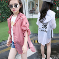 New Summer Baby Girls Sun Protection Clothing Korean Type Letter Children Coats Full Sleeve Baby Clothes Kids Outerwear Coat