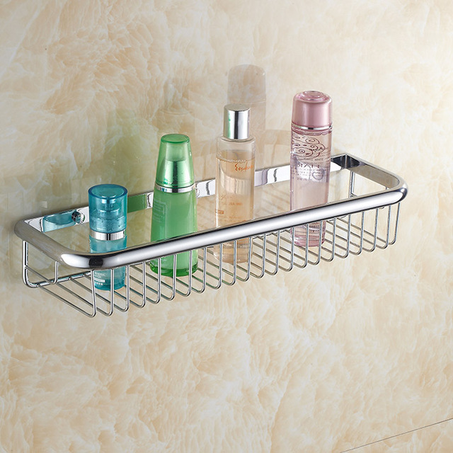 Newly 45cm chrome Shower Caddy Basket Bathroom Commodity Shelves ...