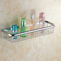 Newly 45cm chrome Shower Caddy Basket Bathroom Commodity Shelves Brass Cosmetic Storage Rack Wall mount