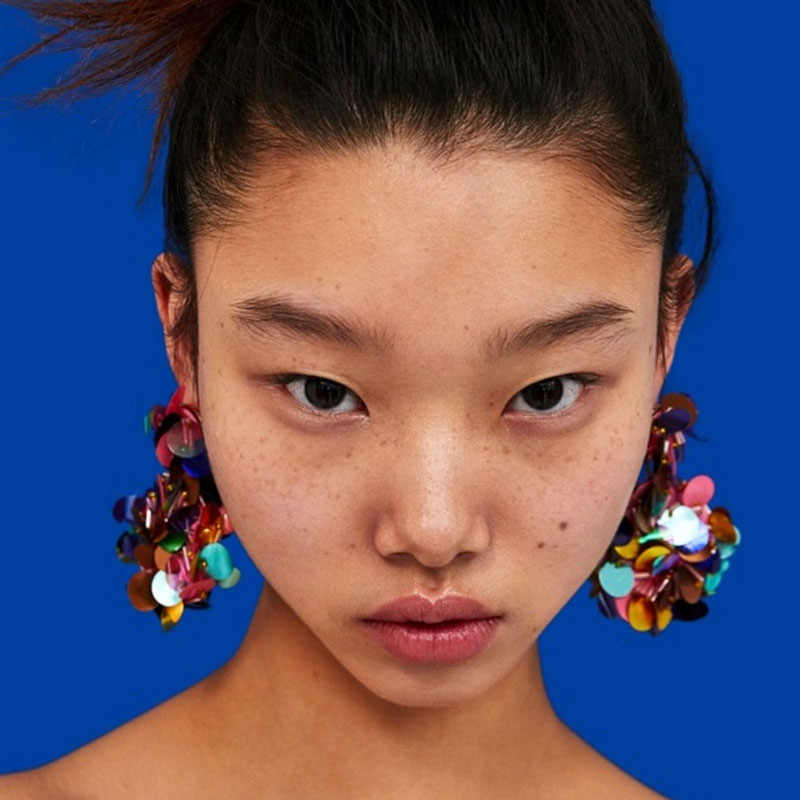 Girlgo 2019 ZA Fashion Handmade Flower Drop Earrings New Bohemian Statement Dangle Earrings For Women Accessories Pendientes Ins