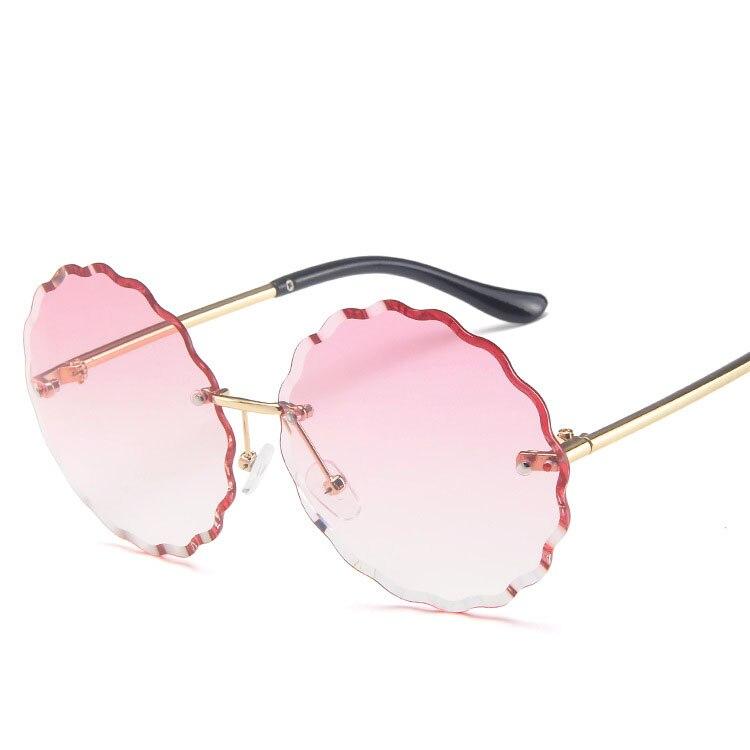 Fashion Round Rimless Flower Sunglasses Women Men Vintage Stylish Metal Frame SunGlasses Unique Decoration UV400 De Sol Eyewears