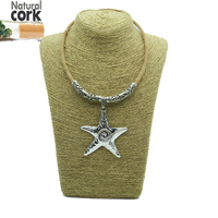 Natural Cork Starfish Necklace With Ancient Silver Tube Sea Star Women Handmade Original Necklace N 79