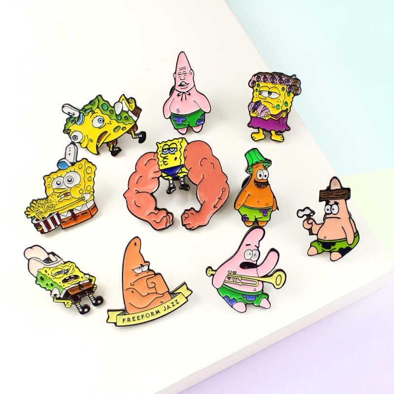 Indah Kartun Rambut Keriting Otot Sponge-Bob Bros Lucu Enamel Pin untuk Anak-anak Hadiah Aksesoris Lencana Pakaian Pin Bros