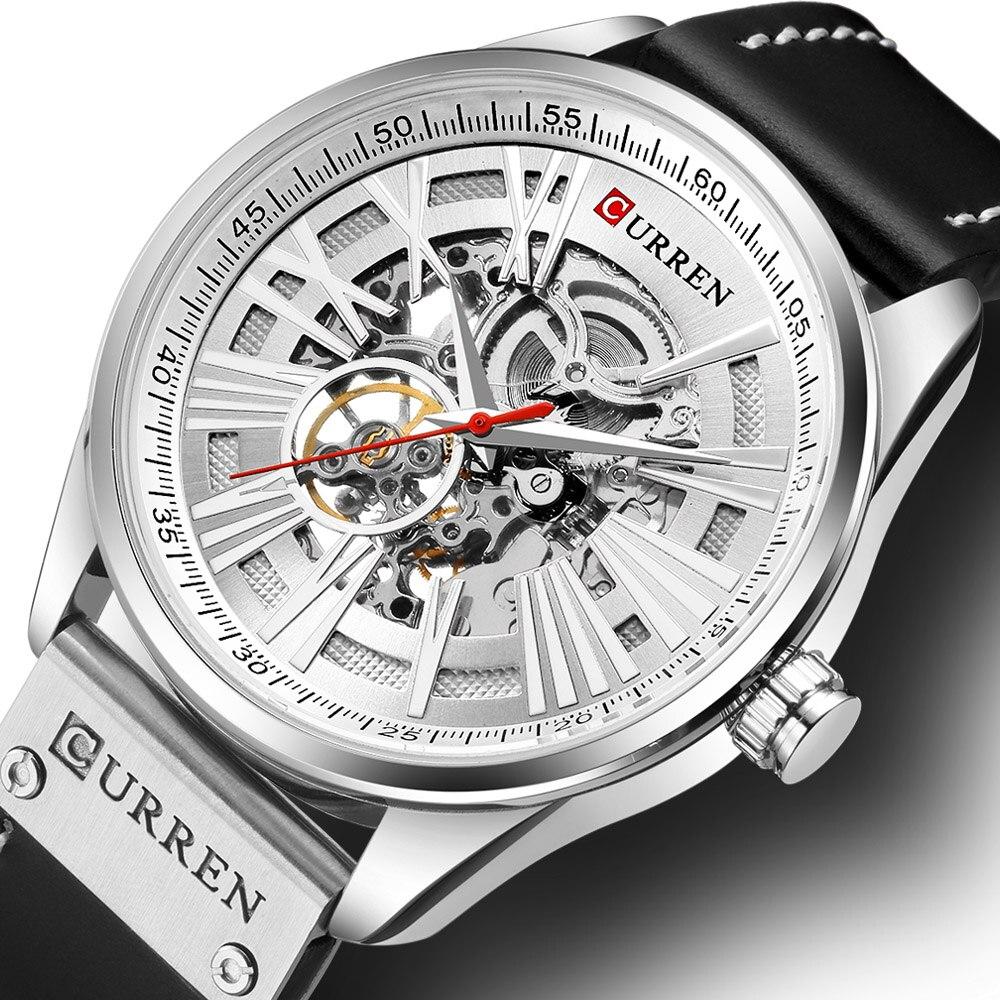 Curren 자동 시계 남자 럭셔리 브랜드 자동 기계식 시계 남자 시계 가죽 스트랩 해골 남자 기계식 손목 시계-에서기계식 시계부터 시계 의  그룹 1