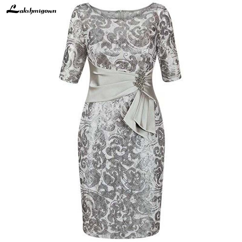 2019 Silver Mother Of The Bride Dresses Sheath Knee-Length Brides Mother Dresses For Weddings