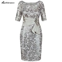 2019 Silver Mother Of The Bride Dresses Sheath Knee Length Brides Mother Dresses For Weddings