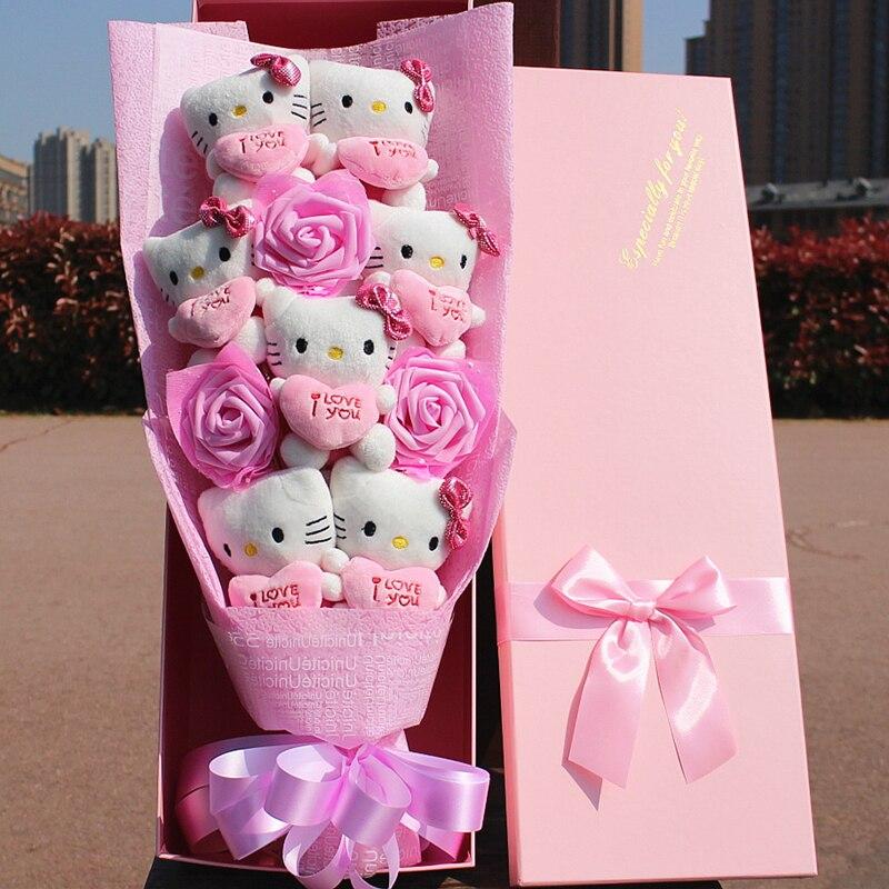 100% hamdmade 3 fleurs de simulation + 7 Hello Kitty peluche animaux en peluche chats jouet dessin animé fleurs bouquet saint valentin cadeau - 3