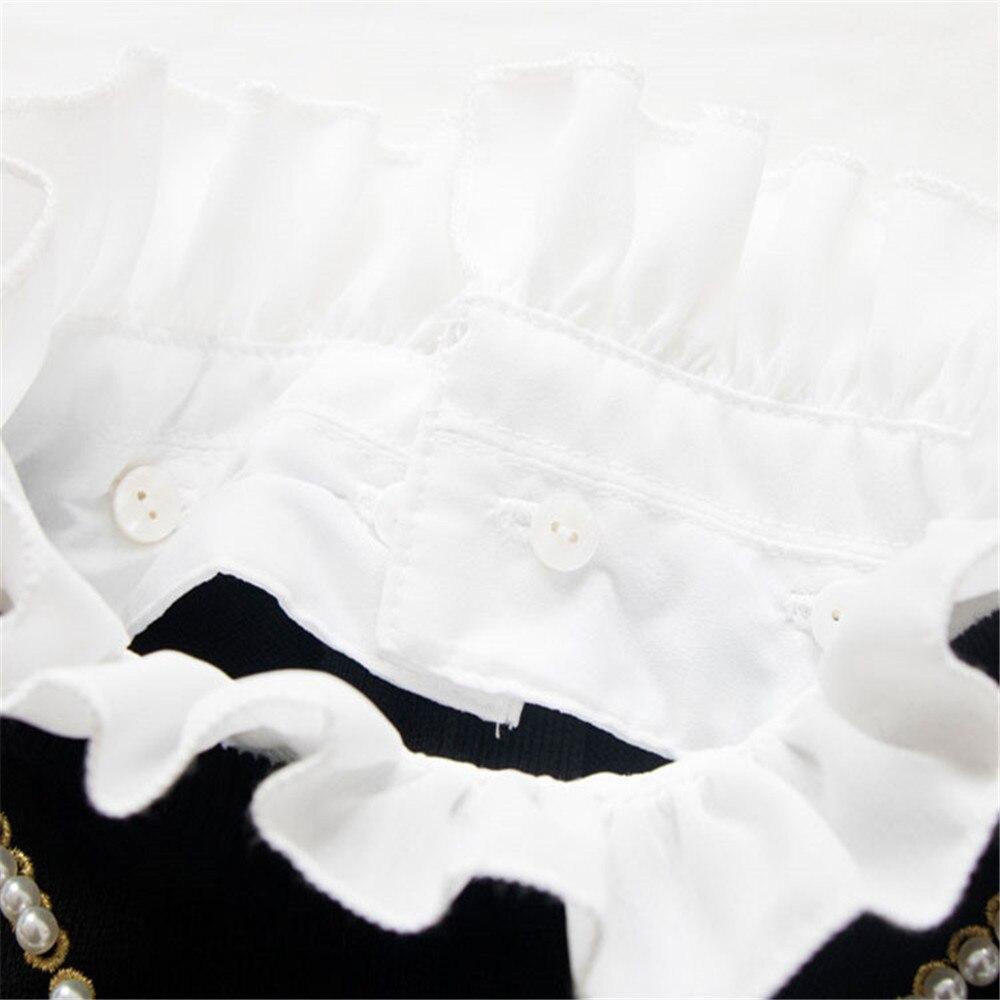 Patchwork Pulls Piste Tricot En Nouveau Chandail 2018 Perle D'hiver Black Perles Pour Vintage Blouson Tunjuefs Jumper Automne Femme Ruches Hauts wY6fE
