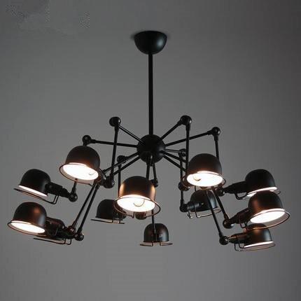 Vintage loft 12 lights spider chandelier lighting for Suspension 3 lampes industriel