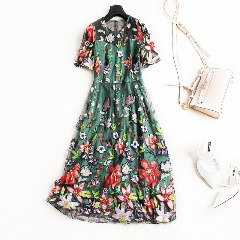 Mesh embroidery women long party dress new 2018 spring summer dress short sleeve elegant brand runway designers high end dress