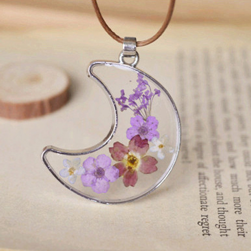 Natural dry flowers hand epoxy moon shape glass pendant necklace natural dry flowers hand epoxy moon shape glass pendant necklace choker rope necklace diy art creative aloadofball Images