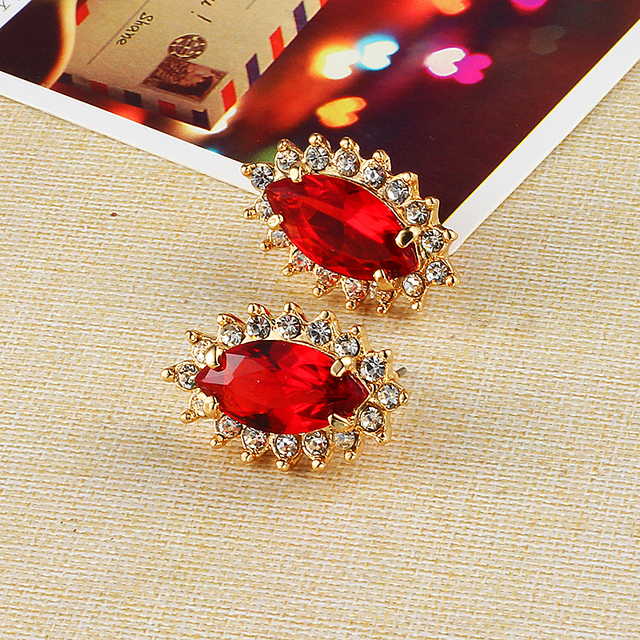 Crystal Plated Gold Red Wedding Earrings Korean Fashion Statement Online Ping India Studs Abc