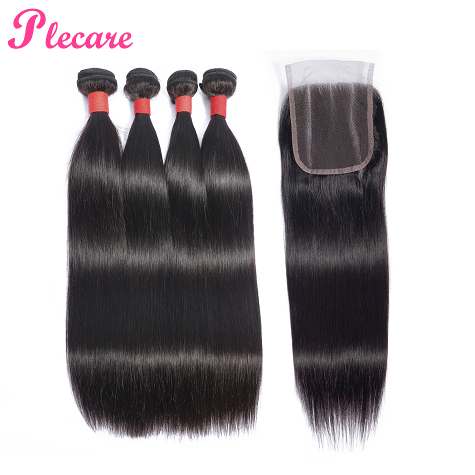 Plecare Human Hair Bundles With Closure 4 Bundles With Closure Brazilian Straight Non Remy Hair Weave