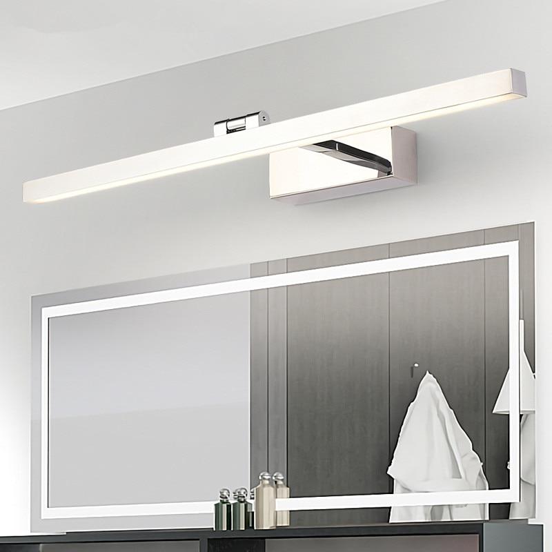 LED nordique miroir phare salle de bain luminaire décoration matériel lumière corps acrylique abat-jour noir blanc Anti-buée