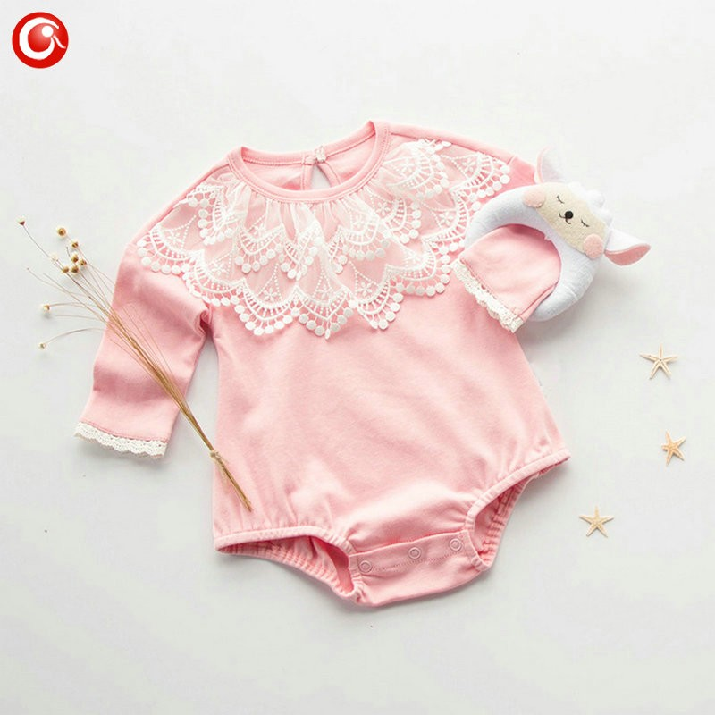 2016 Casual Pink Baby Bodysuit With Lace Princess Newborn Girls Cotton Long Sleeve Body Clothes Infant Underwear For Christmas (6)