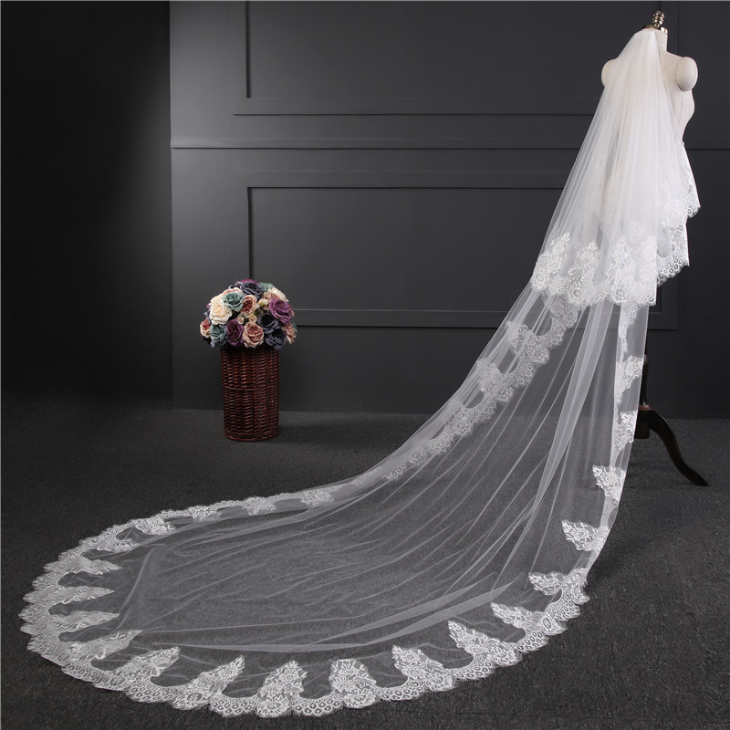Two Layers 3 Meters Lace Edge With Comb Long Wedding Veil Cathedral Bridal Veils White Ivory Wedding Accessories Veil Soiree