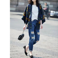 Nice Nice Design Women Blouse Kimono Blouse Floral Printed Kimono 5/8 Batwing Sleeve Cardigan Shirts European Style Tops GG005