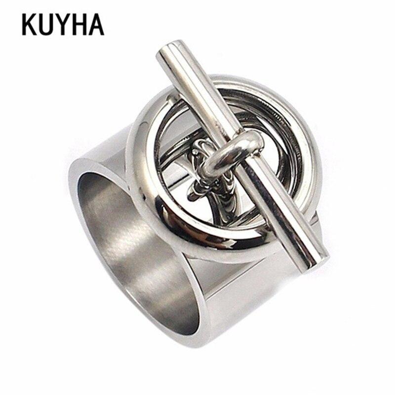 Edelstahl Runde Ring Engravable Anpassbare Bijoux Frauen Silber Farbe Einzigartige Schmuck Exquisite Mode Mädchen Biker Ring