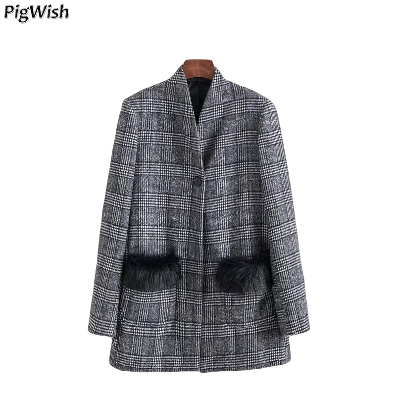 2018 New Winter Women Blazers And Jackets Elegent Vintage Plaid Jacket Coat Ladies Suit Jacket Pockets Blazer Feminino Outwear