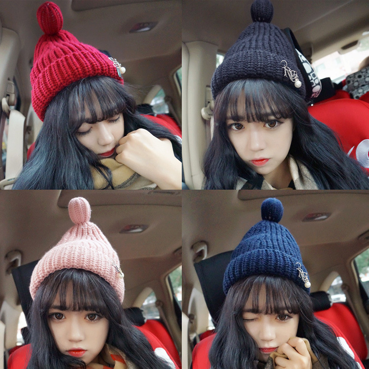 Kesebi Autumn Winter Female Casual Ball Cute Skullies Beanies Women Korean Pearl Thick Solid Color Warm Knitting Hats skullies