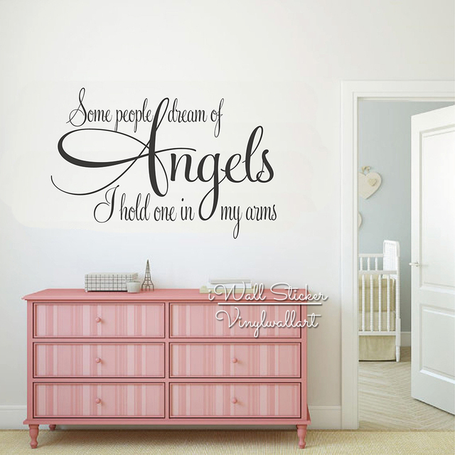 Angels Quotes Wall Art Decal Kids Lettering Quote Stickers Children Room Removable Baby Nursery