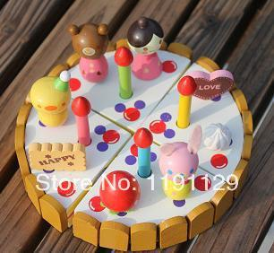 Wood cake kitchen toys wooden toys role play toys for children learning and educational toys DIY toys birthday gifts for kids