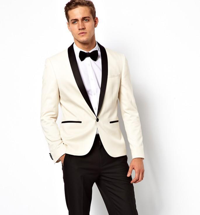 09c667aa1 Aliexpress.com  Comprar 2018 trajes de boda de marfil blanco para hombres  esmoquin negro satén chal solapa hombres trajes Slim Fit padrino traje de  dos ...
