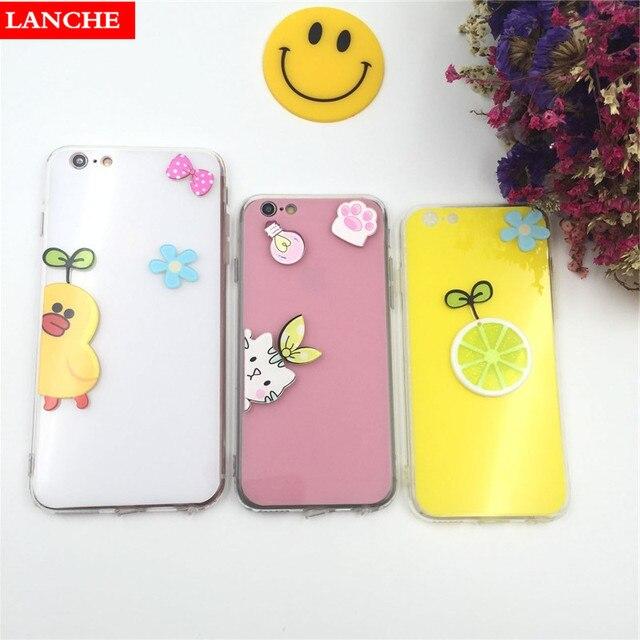31e0fc8cf7 LANCHE Cartoon Phone Case For iPhone 6 6S 7 Plus DIY 3D Summer Cat Duck  Lemon Hard Plastic Candy Mirror Back Cover+TPU Frame