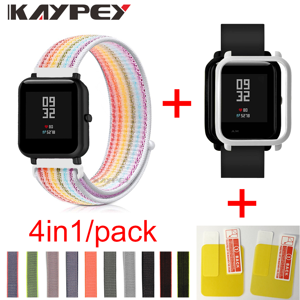 4in1 For Xiaomi Huami Amazfit Bip Strap Wristband Nylon Loop Smartwatch Bracelet Amazfit Bip Case Cover With Screen Protector