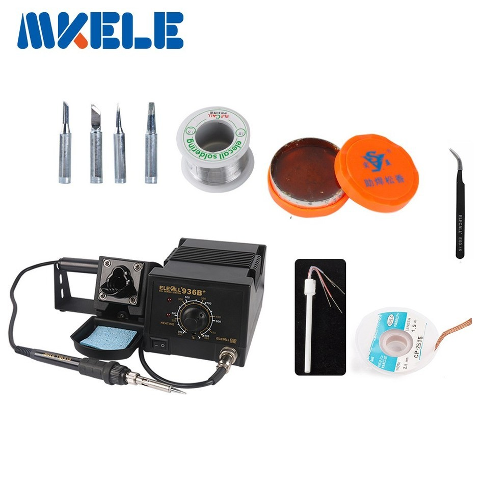 ФОТО  75W Industrial grade Lead-free Soldering Station set 936B Electric Iron Welding gift as picture 110V/220V