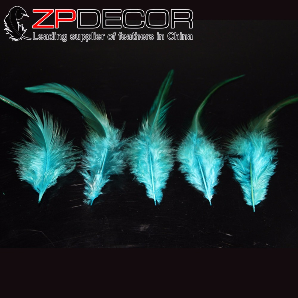 ZPDECOR 200pieces/lot 5-6inch(12.5-15cm) Good Quality Dyed Turquoise Blue Rooster Saddle Feathers for Hair Extension