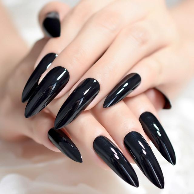 Extra Long Sharp Clic Solid Black Stiletto False Nails Tips Oval Stilettos Bright Uv Gel