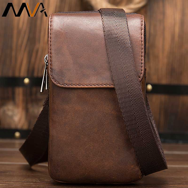 MVA Men's Bag Belt Men's Shoulder Bag Men's Genuine Leather Crossbody Bags for Men Small Messenger Bags Phone Handbag sac a main