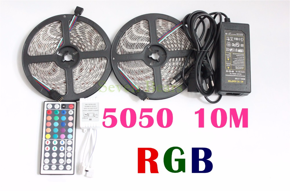 10M 2*5m SMD 5050 LED Strip Light Waterproof DC12V RGB Diode Tape +44Key Remote +8A Transformer for Home Party Decoration Lights