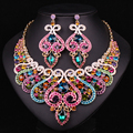 Fashion Bridal Jewelry Sets Wedding Necklace Earring For Brides Party Accessories Gold Plated Crystal Indian Women Decoration