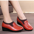 Spring and Autumn new women 's shoes mother fashion leather slope with a single shoes casual comfortable large size work shoes