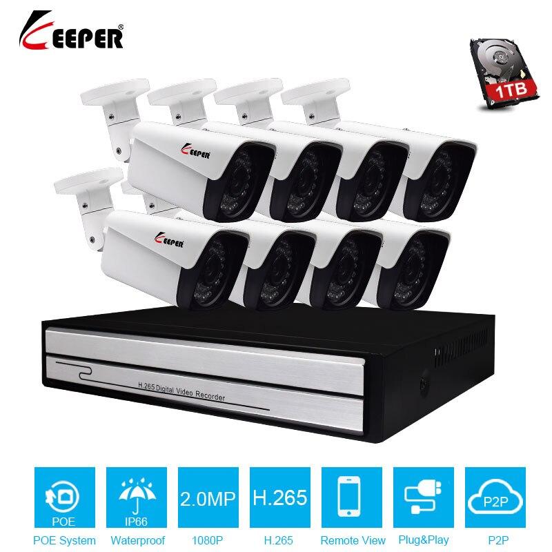 Keeper 8CH 1080 P POE NVR H.265 8 pcs 2MP Metal Do Sistema Full HD IP Câmera de CCTV Ao Ar Livre Kit HDMI 3 P2P E-mail de Alarme frete grátis