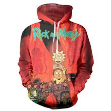 2017 new fashion Cool sweatshirt Hoodies Men women 3D print Red Rick and morty fashion hot Style Streetwear Long sleeve cloth