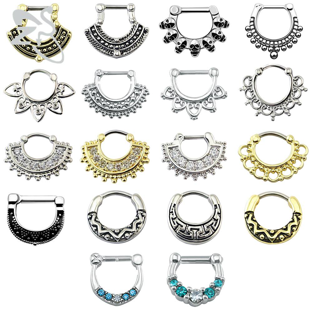 Indisk näsa Piercing Septum Clicker Real Clip Rings Piercing Smycken Septum Tribal Hoop Näsa Ring Body Piercing Septo Indiano