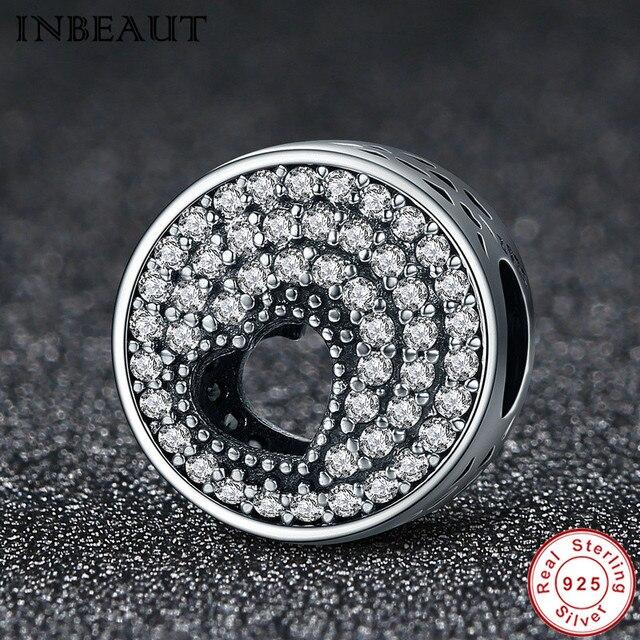 INBEAUT Women Wedding Jewelry 925 Sterling Silver Chain Link Bracelet Charm Girl Heart Crystal Zircon Bead fit s925 Bracelets