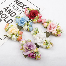AHB Artificial Flowers Elastic Nylon Headband for Baby Girl Soft Birthday Gift Newborn Princess Tiara Hair Band Kids Headwear