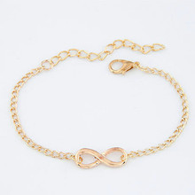 2016 Simple Fashion Chain Bracelets Infinity Bracelet Eight Shape Silver Gold Plated Charm Bracelets Bangles For Women Pulseras