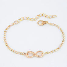 2016 проста мода верига гривни безкрайност гривна осем форма сребърно позлатен чар гривна гривни браслети за жените Pulseras