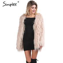 Волосатые simplee chic пушистый меха искусственного элегантный верхняя куртки теплый женская