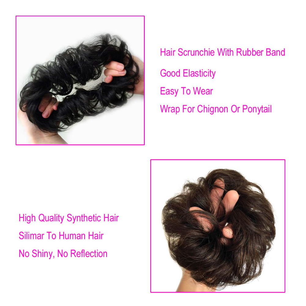 Oubeca Girls Curly Scrunchie Chignon Hair Bun With Rubber Band Synthetic Wave Hair Elastic Ring Wrap For Hair Bun Ponytails Your Source