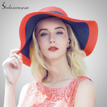 c8267c22c61 Sedancasesa sun hats for women summer large brim sun uv protect straw hat  girls fashion holiday
