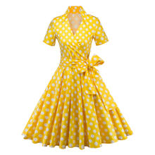 Audrey Hepburn style vintage V-neck belt blow big swing robe dress women casual rockabilly party 50s dresses vestidos female(China)