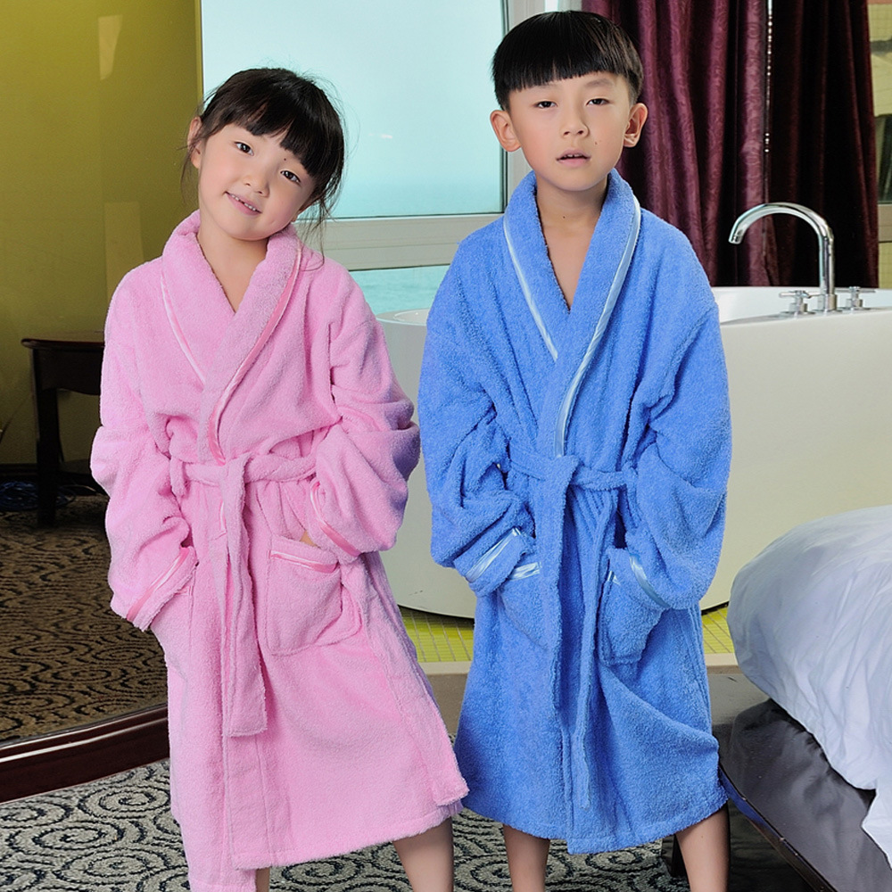 2016 Spring Autumn Winter children's bathrobes puppy dog hooded long sleeve sleepwear girls pink robe boys robes pyjamas kids 8Y